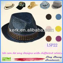 2013 Fashion Decorative Round Nails Unisex fedora hat panama hat 100% Paper Straw Hat ,LSP22
