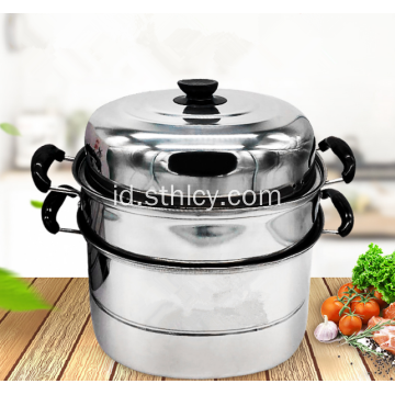 Stainless Steel Pot Steamer Multilayer Tunggal Bawah