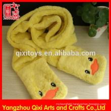 Winter animal plush scarf soft cheap 100% polyester scarf