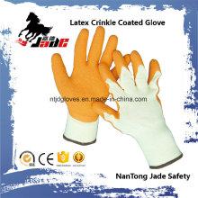 10g Baumwoll Palm Orange Latex Crinkle Coated Industriehandschuh
