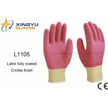 10g de alto grado de poliéster Shell Latex guante de trabajo de seguridad completamente recubierto (L1105)