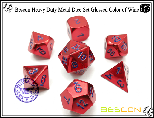 Bescon Heavy Duty Metal Dice Set Glossed Color of Wine-2