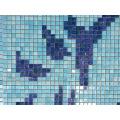 Flower Pattern Piscine Bali Style Blue Swimming Pool Tile Melting Glass Mosaic