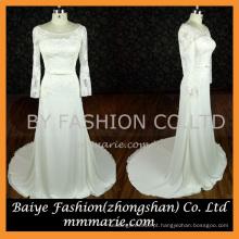 Vestidos para festas noturnas de barco Elegante laço de manga comprida vestido vestido de festa vestido de noiva com cinto de nó de arco