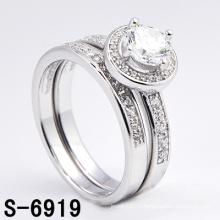 Mode bijoux en argent 925 Micro Pave CZ Twin Ring (S-6919)