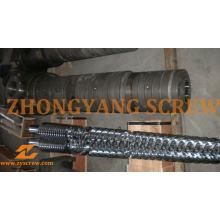 Tambor de parafuso gêmeo cônico bimetálico Zyt422 para a extrusora da tubulação do PVC