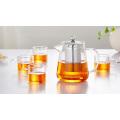 Théière à trois verres 450ml / 600ml avec infusion en acier inoxydable pour grossiste