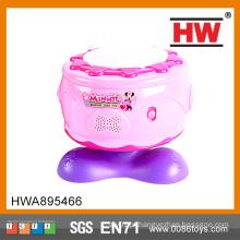Alta qualidade plástico rosa meninas brinquedo instrumento de música tambores