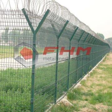 Fil soudé galvanisé enduit de PVC pour la barrière d'aéroport