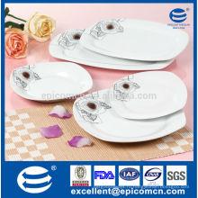 20шт простой линии роз дизайн и одного коричневого цвета узорной фарфоровой фарфоровой посуды