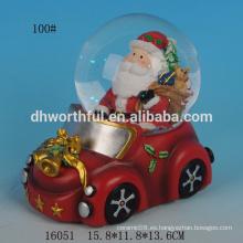 2016 nuevos adornos de Navidad, globo de agua de resina con santa claus en el coche