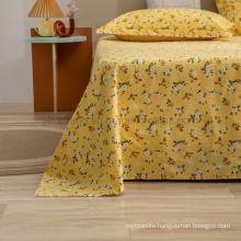 Home Decoration Bed Sheet Set Modern Design Adjustable Yellow Floral Double Bed Linen