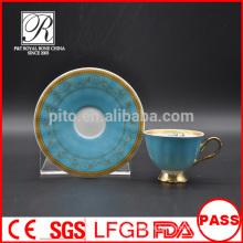 P & T chaozhou fábrica, bule color vitrificado tazas y platillos, tazas de café árabe