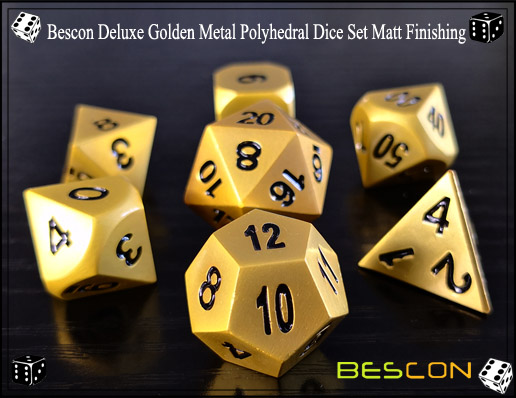 Bescon Deluxe Golden Metal Polyhedral Dice Set Matt Finishing-2