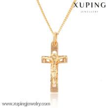 32424 Xuping moda 18k colgante cruz religiosa chapada en oro