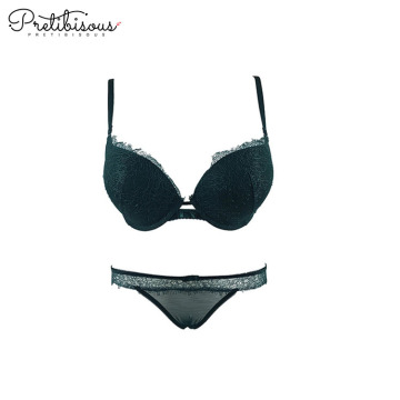Transparenter Spitzen-Push-Up-BH und String-Set