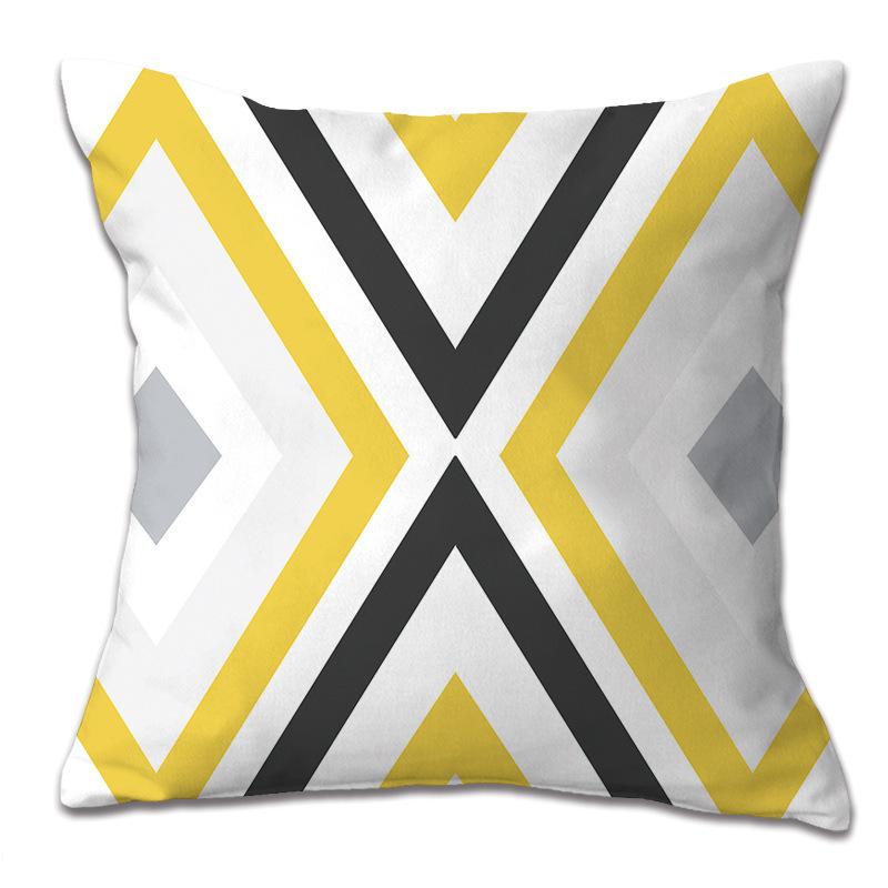 Yellow geometric pattern pillowcase pillow car cushion