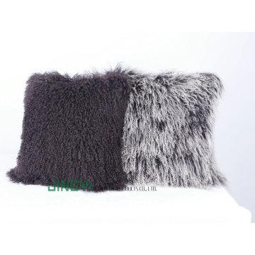 Housse de coussin en laine de fourrure d'agneau tibétain mou tibétain
