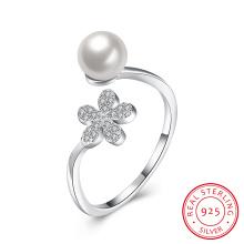 925 Plata de ley Shell Zircon anillo de joyería de plata de las mujeres reales