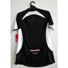 CC02-Top de ciclismo feminino em malha preta com bolso traseiro