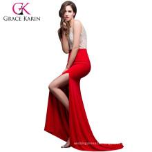Grace Karin Women Sexy Backless V-Neck High-Split Shining Rhinestone Sequins Red Long Prom Dresses CL008914-1