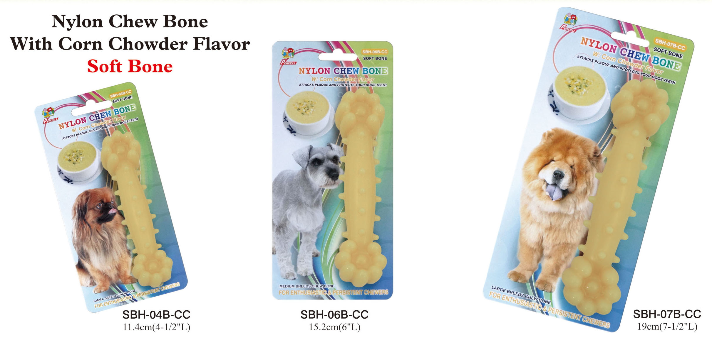 corn chowder scented nylon chew bone - small, medium and large