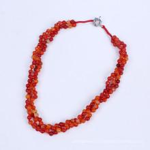 Três filas 6 milímetros Agate Beads Colar
