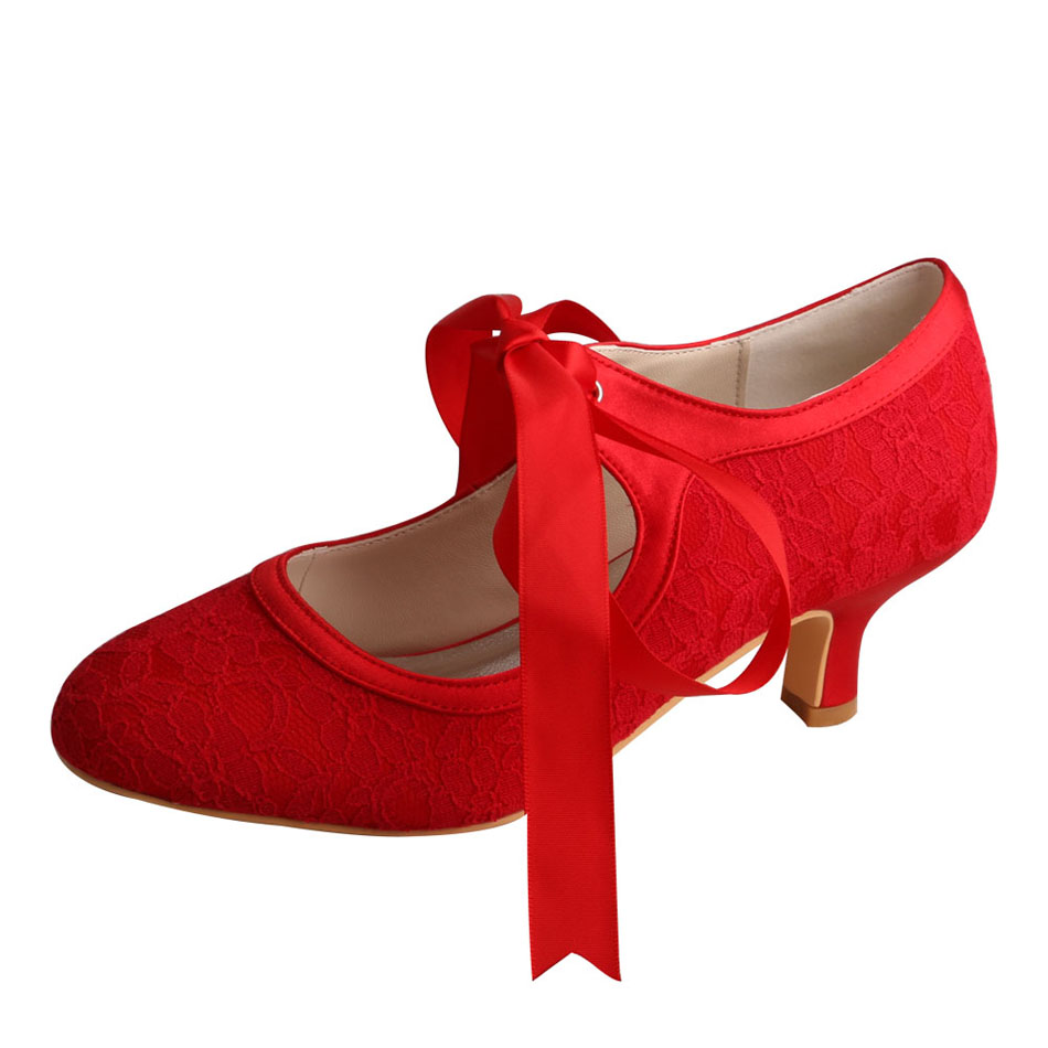 Wedding Shoes Red Lace