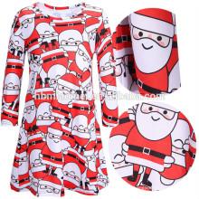 Moda de manga larga roja madre hija ropa de fiesta de Navidad desgaste conjunto de Santa Claus impresa mujeres niños vestido de Navidad