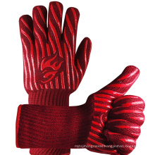 14 Inch Long Cuff Red Barbecue Gloves, 932 Degrees Fahrenheit Heat Resistant BBQ Grill Gloves