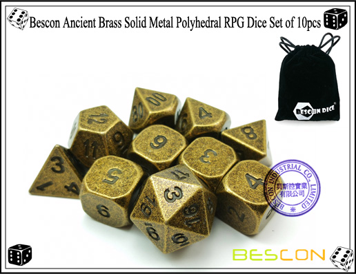 Bescon Ancient Brass Solid Metal Polyhedral RPG Dice Set of 10pcs-2