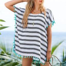 Hot Sale Chiffon Loose Small Tassel Beach Dress (50157)