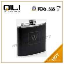 Embossing on leather hip flask vacuum flask Leather Flask Black Flask