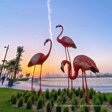 Fiberglass Material Red Color Elegant Flamingo Sculpture
