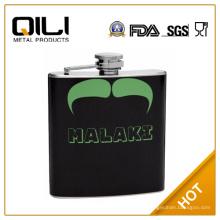 FDA 6oz cuero verde y negro envuelto 6oz frasco de la cadera de bigote