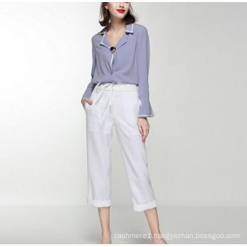 Latest Loose Comfortable V-Neck Fashion Women′s Shirt