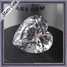 Diamond Cut Coração Forma CZ Gemstones
