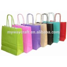 Bolsa de papel brilhante saco colorido de papel artesanal