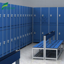 gym changing room locker with bench