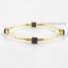 Красивая 18k золото Лазурит Браслет, 925 стерлингового серебра браслеты ювелирные изделия для оптовый Поставщик