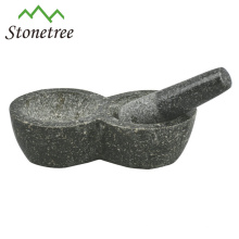 Wholesale Black Granite Mortar and Pestle For Herb and Spice, Grinder Herb With Two Mortar, Stone Cookware Kitchenware