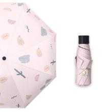 Women Compact Rain Paraguas 5 Fold Mini Pocket Folding Promotional Gift Custom Print Cheap Capsule Umbrella
