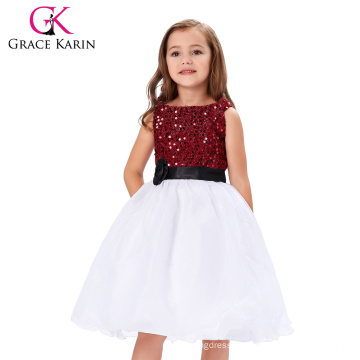Grace Karin 2016 Sleeveless Sequined Flower Girl Princess Bridesmaid Wedding Pageant Party Dress CL008934-1