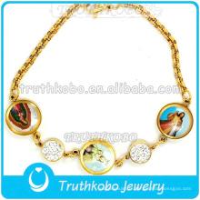 Jésus Époxy Christ Médaille Charme Bracelet En Acier Inoxydable Or Religieux Style Notre Dame De Grâce Chaîne Bracelet