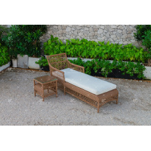 Poly résine Rattan Sun Lounger pour Outdoor Garden Beach and Resort