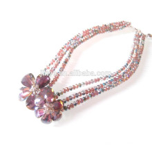 Multi Layered Blume Kristall Halskette Glas Perlen Halskette