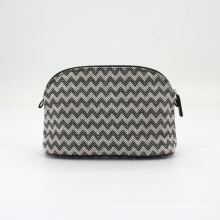 Custom Chevron Embroidery Cotton Thread Inner Pocket Metal Zipper Makeup Bag