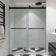 2-fold rolling bath screen bifold framless shower door for hotel project