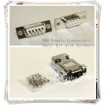 DB9 Connector DB9, RS232 9 pin Connector Shell Kit with Hardware