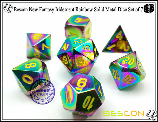 Bescon New Fantasy Iridescent Rainbow Solid Metal Dice Set of 7-1